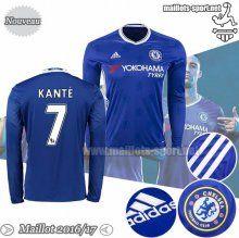 Ensemble Nouveau Kante 7 Maillot Foot Chelsea Manche Longue Bleu 2016-2017 Domicile   Maillots-Sport