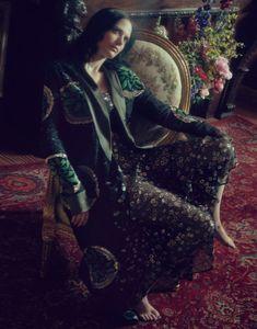 Eva Green takes a seat in Etro jacket with Valentino maxi dress