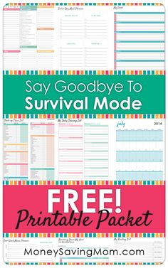 Get your FREE Say Goodbye to Survival Mode Printable Packet! Get this HUGE Printable Packet with all sorts of Household Forms & Printables -- Household Binder, Household Organization, Binder Organization, Household Notebook, Household Expenses, Organizing Paperwork, Organizing Life, Organising, Planner Pages