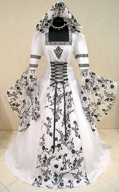 MEDIEVAL WEDDING DRESS GOTHIC S-M 10-12-14 WHITE BLACK COSTUME MITTELALTER KLEID