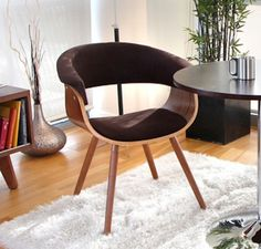 Retro Office Chair Mid Century Accent Wood Brown Upholstered Modern Vintage Side for sale online New Living Room, Living Room Chairs, Living Room Furniture, Home Furniture, Furniture Outlet, Online Furniture, Furniture Chairs, Dining Rooms, Furniture Ideas
