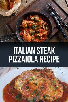 Tomato Recipes Authentic Italian Steak Pizzaiola Recipe with Tomato Sauce - Finally the recipe! - This steak pizzaiola recipe is delicious and easy to make, with the best tomato sauce recipe! Italian Dinner Recipes, Italian Dishes, Italian Cooking, Authentic Italian Recipes, Italian Entrees, Beef Dishes, Food Dishes, Pasta Dishes, Steaks