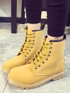 Yellow Thick-soled Round Toe PU Boots 32.62