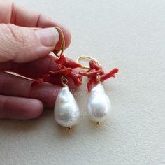 Orecchini in argento 925 pl oro perle barocche corallo
