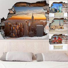 Adesivo da parete 3D città | Saldi su Lesara