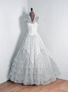 Vintage White Beaded Angelic Dress Gown