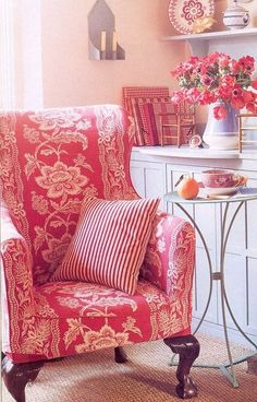 Katrin Cargill Design: red toile chair with red striped pillow Home Interior, Interior Design, Shabby, Red Cottage, French Chairs, French Armchair, Home Living, Cottage Living, Living Room