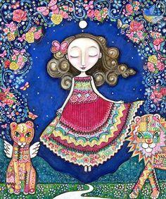 Womens art print patchwork painting lion lioness wall art girls room art for kids whimsical folk art portal spiritual mixed media art. via Etsy Kids Room Art, Art Wall Kids, Nursery Wall Art, Art For Kids, Mixed Media Painting, Mixed Media Art, Owl Art, Whimsical Art, Female Art