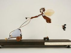 Samantha Bryan Fairies Learn to Fly Conkers, Art Corner, Learn To Fly, Inventions, Paper Art, Wings, Fairy, Ceiling Lights, Sculpture