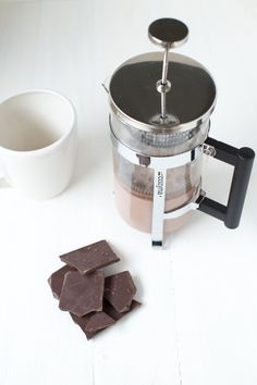 French Press Hot Chocolate Recipe is an easy way to make delicious hot chocolate with only two ingredients and a French press!
