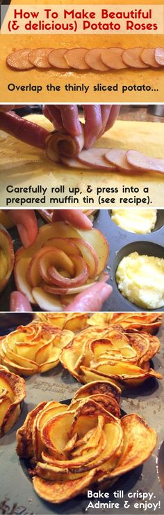 Tutorial: How to Make Beautiful and Delicious Potato Roses ~ The most beautiful thing you can make with a potato. These gorgeous potato roses add a touch of glamour or romance to any plate - Simple, but impressive! Passover Recipes, Jewish Recipes, Easter Recipes, Vegan Recipes, Cooking Recipes, Cooking Food, Passover Food, Vegetarian Cooking, Indian Recipes