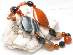Agate Red Carnelian Black Onyx Large Bold Gemstone Beaded Necklace @dianesdangles #bmecountdown