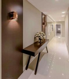 In case you do not want to get any further - Home Decor Ideas! Home Bedroom, Home Living Room, Hallway Inspiration, Modern Style Homes, Apartment Design, Decoration, Entryway Tables, Wall Lights, Furniture