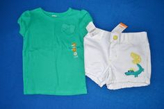 NWT Gymboree 3T Girl's Two Piece Alligator Shorts Outfit Set