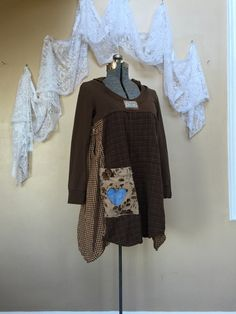 Medium,  Upcycled Boho Chic Hoodie, Funky Tunic, Romantic Shabby Chic Eco Dress, Boho Gypsy Patchwork Top, Rustic Woodland Dress