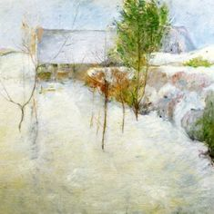 """John Henry Twachtman (1853 - 1902), House in snow, 1890-1894, oil on canvas, 30"""" x 30"""", private collection"""