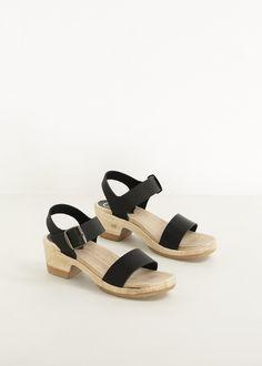 No. 6 Two Strap Mid Heel Clog (Black / Natural)