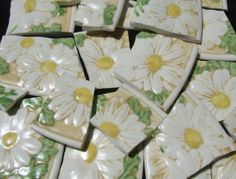 Mosaic Tiles PoppyTrail Sculptured Daisy Yellow White by cocomo, $21.00