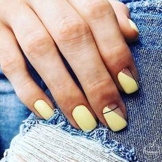 Nails Yellow nail art the is Yellow Nails Design, Yellow Nail Art, Pastel Yellow, Minimalist Nails, Cute Acrylic Nails, Cute Nails, Hair And Nails, My Nails, Nagellack Trends