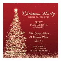 Elegant <b>Christmas/Wedding/Dinner Party </b>Invitation template with sparkling Christmas Tree on red. Impress your friends with this sophisticated and elegant invitation design. Fully customizable!