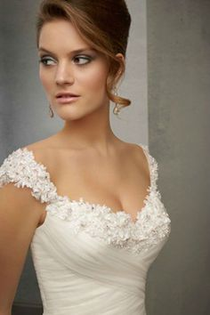 2014 Straps Sheath/Column Wedding Dress Pleated Bodice With Crystal Beaded Appliques