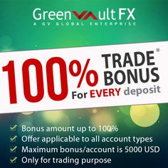 Here is the great chance for #forex #traders!!  On every deposit, a bonus amount of up to 100% can be availed for #trading purposes.  The greater you deposit, the greater is the chance of getting 100% bonus.  Find all terms and details in our site.