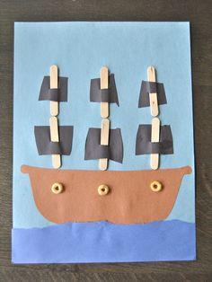 Pirate Ship Craft w/ Cutting Strips Preschool Pirate Theme, Pirate Activities, Art Activities, Preschool Crafts, Pirate Ship Craft, Pirate Crafts, The Pirates, Art For Kids, Crafts For Kids