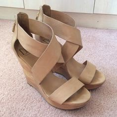 DVF leather strap wedges 5inch nude leather wedges with gold zipper hardware,  great condition worn twice Diane von Furstenberg Shoes