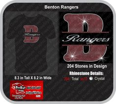 Benton Ranger 1  School mock up Glitter and Bling $20 for sizes up to xlarge $22 for sizes 2Xlarge and BIgger