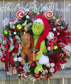 LOVE, love, Love this The Grinch Christmas Wreath, which features a large plush Grinch and Max (the dog). From the creator, @tiernaugh. Available on eBay by clicking on the picture. #thegrinch #christmaswreaths