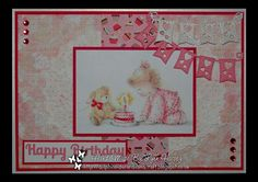 Delphinoid's Cards and Craft: Birthday Card - Birthday Cake and Teddy