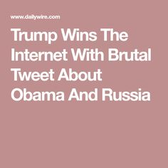 Trump Wins The Internet With Brutal Tweet About Obama And Russia