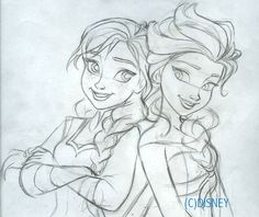 Frozen - Anna and Elsa Sketch