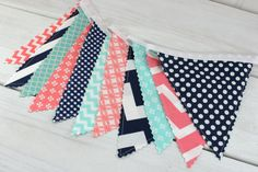 Banner Bunting, Photo Prop, Fabric Flags, Baby Shower, Birthday Banner - Navy Blue, Coral Pink, Mint Green Chevron, Dots, Geometric