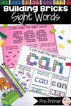 These Dolch Pre-Primer mats are a great way for students to practice independently when teaching sight words. Students will use Building Blocks to build each high frequency word and practice finding and writing the word on the bottom of the worksheet. These are great to use in literacy centers or word work stations. Building Bricks are great for fine motor skills too! Perfect for morning tubs & early finisher bins too! Great for Preschool, Pre-K, Kindergarten, and 1st Grade! #sightwords #tpt