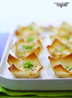 Coupes au crabe et au fromage - Faciles à faire avec des pâtes à won-ton !! #recette