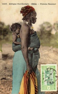 """Africa   """"Femme Saussai"""".  Senegal.     Vintage postcard; publisher Collection Générale Fortier.  No. 1029."""