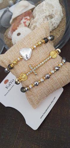 St Benedict and Heart Bracelets Catholic Bracelets Stacking | Etsy #etsyshops #bracelets #kayojewelryco #catholicbraclets #fashioncatholicjewelry #glassbracelets #braceletsset #armcandy #jewelry2021 #heartbracelets #gemstonebracelets #giftideas #hearr