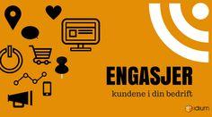 Grafisk bilde med teksten engasjer deg i dine kunder. Idium. Dining, Movies, Movie Posters, Pictures, Food, Films, Film Poster, Cinema, Movie