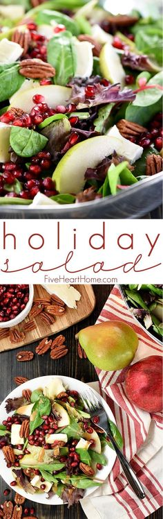 Holiday Salad ~ this gorgeous Pomegranate, Pear, Pecan, & Brie Salad with Homemade Balsamic Vinaigrette is loaded with vibrant colors and flavors and contrasting textures. It would be the perfect addition to your Thanksgiving or Christmas holiday table, or it would make any dinner special! | FiveHeartHome.com