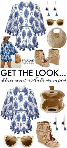 Frugal Fashion Friday Blue and White Romper on Frugal Coupon Living. Spring Fashion. Polyvore style. Nordstrom clothing. Spring Outfit of the Day. Blue and White Clothing.