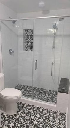 Looks like my bathroom, except the Merola Tile is on the wall of my stand-up shower 🚿. Love love love 💕 Merola Tile Twenties Classic in. Ceramic Floor and Wall Tile at The Home Depot - Mobile Vintage Bathroom Tile, Classic Bathroom, Bathroom Tile Designs, Bathroom Interior, Bathroom Remodel Shower, Bathroom Makeover, Bathroom Design Small, Master Bathroom Shower, Bathroom Interior Design