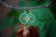Blue And Green Striped Dream Catcher Earrings by nZuriArtDesigns