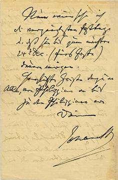 Johannes Brahms (1833-1897) Fine autograph letter signed ('Johannes B') to his life-long friend, the composer Otto Grimm.
