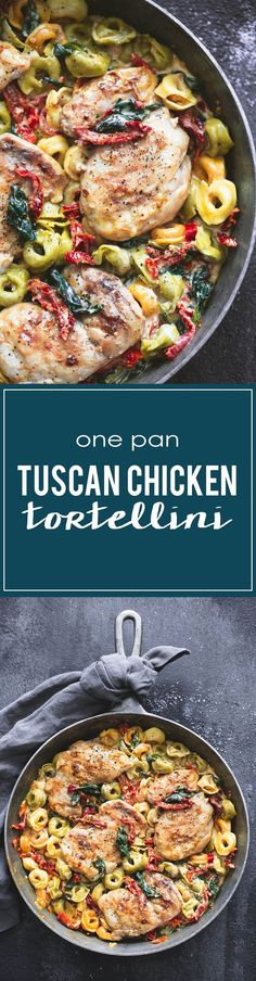 Creamy one pan tuscan garlic chicken tortellini has incredible flavor and comes together in just 30 minutes. You'll make this healthy dish… Pastas Recipes, Dinner Recipes, Cooking Recipes, Healthy Recipes, Spinach Recipes, Pot Pasta, Pasta Dishes, Food Dishes, Turkey Recipes