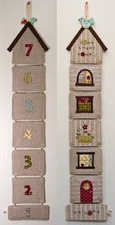 """""""New Home"""" coaster set (from 'Countdown Calendars' by Stash Books) These decorative coasters would make a great gift for a friend who is moving. Numbers are appliqued on the backs of the coasters so they can be flipped to count down the days until moving into their new home."""