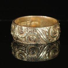 Engraved Antique Victorian Wedding Band, 9k Gold Hallmarked 1881