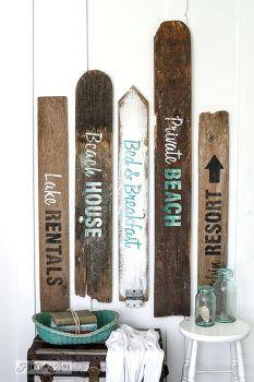 signos inmediato a la playa de viejas tarjetas de cercas, la artesanía, vallas…