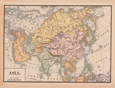 Old Map of Asia, China,  Tibet,  Persia,  India,  Arabia, and Russia from 1891 digital image no. 367