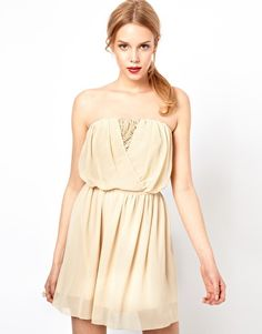 Love Bandeau Sparkle Dress With Belted Waist